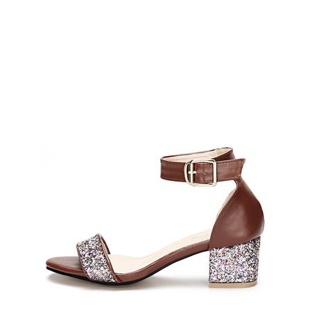 Yoins Brown Glitter Embellished Block Heel Adjustable Ankle Strap Sandals