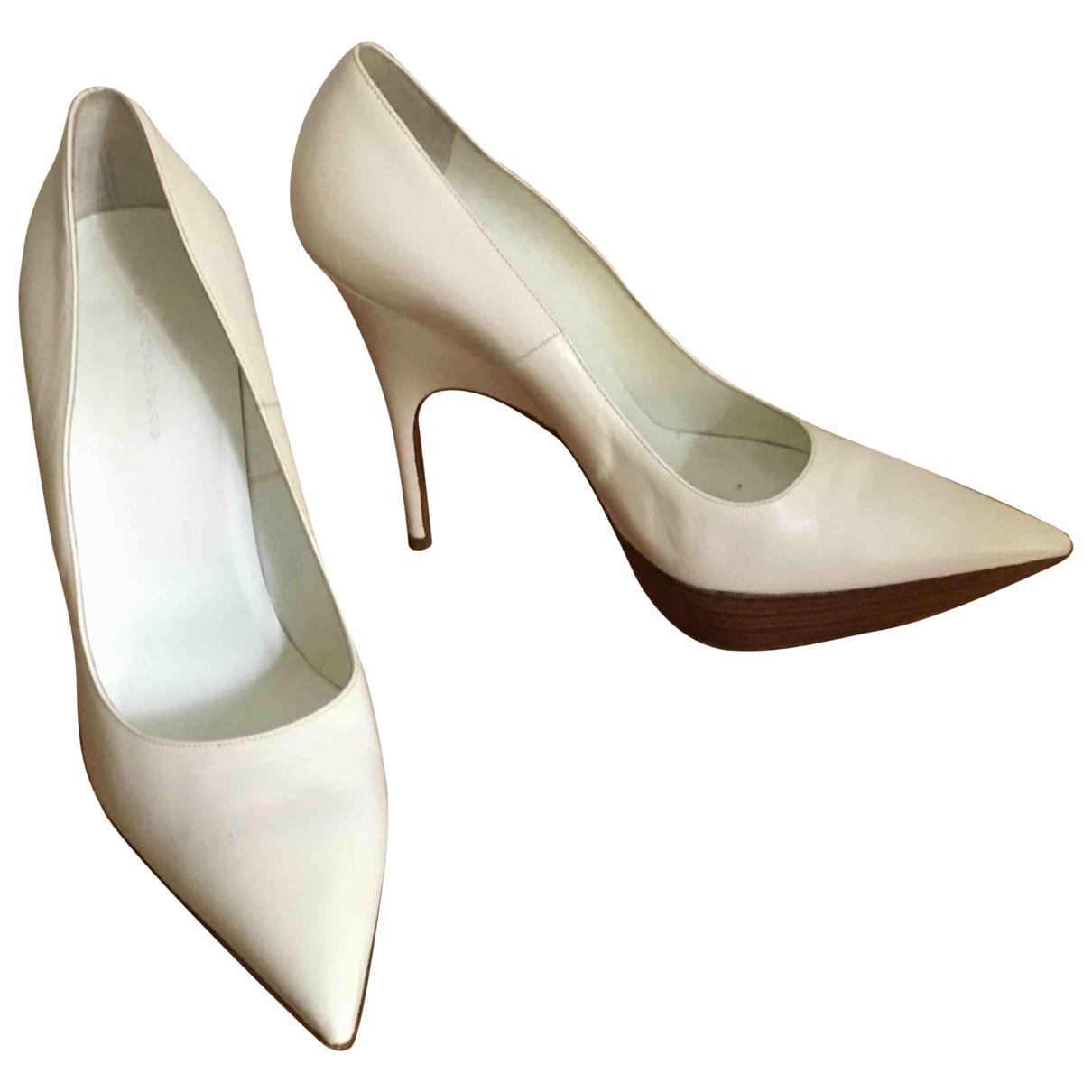 Balenciaga - Escarpins   pour femme en cuir - ecru