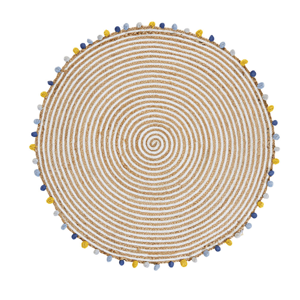 Baumwoll-/Juteteppich mit bunten Pompons D100