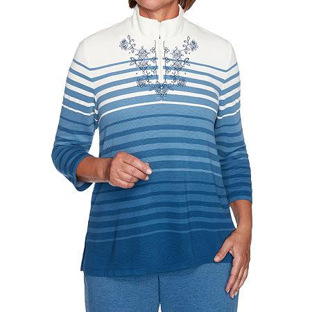 Alfred Dunner Long Weekend Womens Mock Neck 3/4 Sleeve Quarter-Zip Pullover, Large , Blue