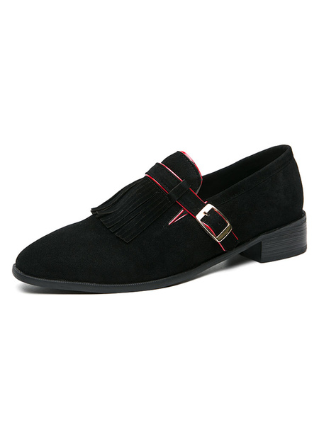 Milanoo Mens Loafer Shoes Strap Adjustable Artwork Round Toe Polyester Mens Loafer Shoes