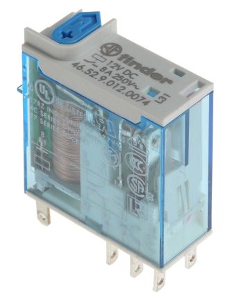 Finder , 12V dc Coil Non-Latching Relay DPDT, 8A Switching Current PCB Mount, 2 Pole
