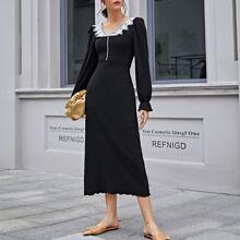 Vestido ribete en forma de lechuga con encaje en contraste con perlas