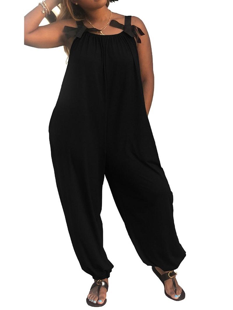 Ericdress Lace-Up Full Length Plain Loose Mid Waist Jumpsuit
