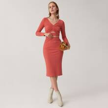 V-neck Ruched Bust Peekaboo Front Top & Pencil Skirt Set