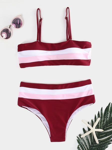 Yoins Burgundy Stripe Backless High-waisted Bateau Bikini Set