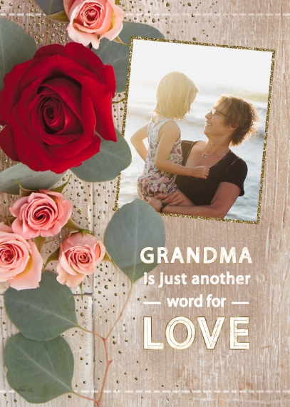 Grandparent's Day 5x7 Folded Cards, Premium Cardstock 120lb, Card & Stationery -Roses for Grandma by Hallmark