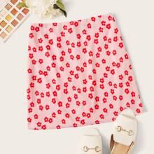 Falda con estampado floral con cremallera trasera