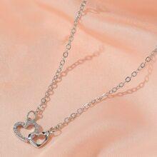Collar con diseño de corazon con diamante de imitacion