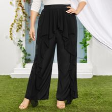 Plus Ruffle Trim Wide Leg Pants