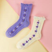 2pairs Floral Pattern Socks