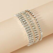 3 piezas pulsera con diamante de imitacion