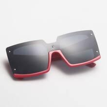 Rivet Decor Square Frame Sunglasses