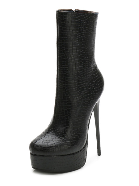 Milanoo Black Ankle Boots Women Sexy Boots Almond Zip Up Patterned Stiletto Heel Booties