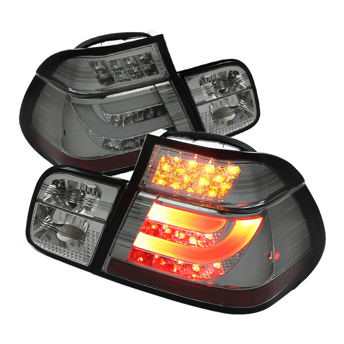 Spyder Auto ALT-YD-BE4699-4D-LBLED-SM Light Bar Style Smoke LED Taillights BMW E46 316i 4Dr 98-01
