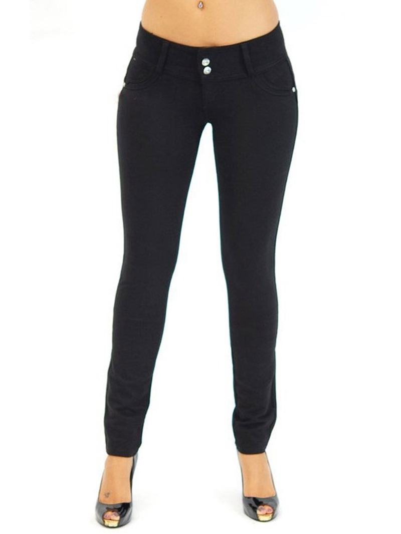Ericdress Skinny Button Women's Pants