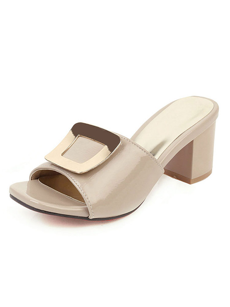 Milanoo Zapatos de tacon alto con tacon de bloque para mujer, charol, borgoña, punta abierta, talla grande
