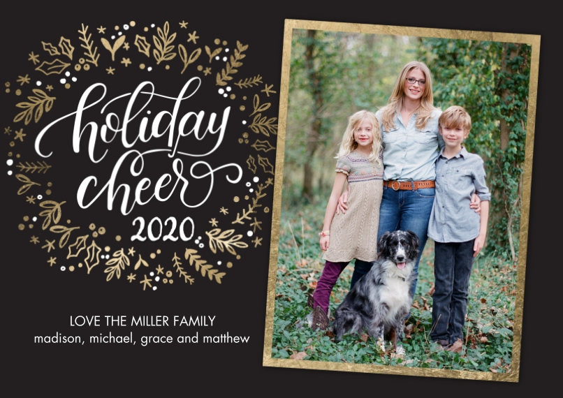 Christmas Photo Cards 5x7 Cards, Premium Cardstock 120lb with Rounded Corners, Card & Stationery -2020 Holiday Cheer Wreath by Tumbalina