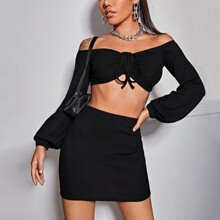 Ruched Drawstring Front Crop Top & Skirt Set