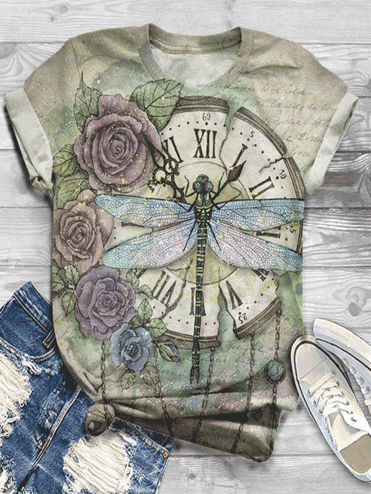 Dragonfly Clock Printed Short Sleeve T-shirt For Women