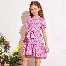 Kleid mit Raffungsaum, Kleeblatt Muster und Guertel