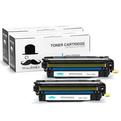 Compatible HP 507A CE401A Cyan Toner Cartridge - Moustache@ - 2/Pack