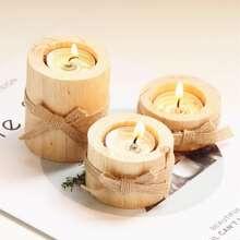 3 piezas soporte de vela de madera