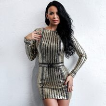 Lace-up Back Sequin Bodycon Dress