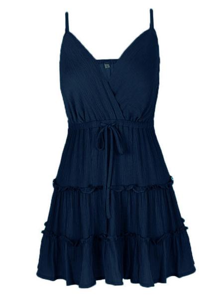 Milanoo Vestido de verano rojo de las mujeres correas de cuello imprimio el vestido corto de la playa