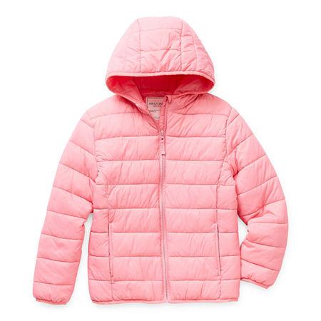 Arizona Little & Big Girls Hooded Packable Midweight Puffer Jacket, Medium (10-12) , Pink