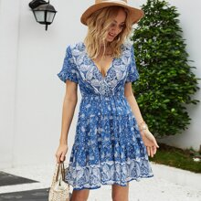 Surplice Neck Tiered Hem Paisley Print Dress