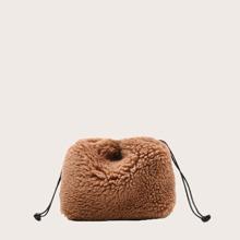 Girls Faux Fur Decor Crossbody Bag