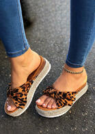 Summer Leopard Bowknot Round Toe Slippers