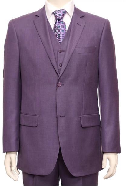 Single Breasted 2 Button Light Purple Fabric 3 Piece Notch Lapel Side