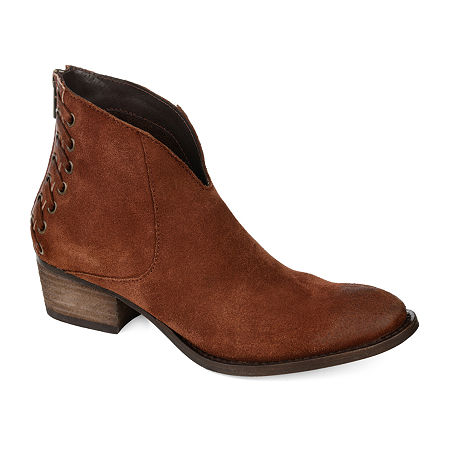 Journee Signature Womens Arika Booties Stacked Heel, 11 Medium, Brown