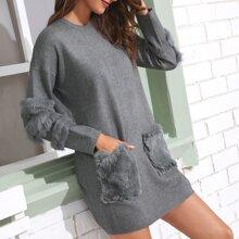 Contrast Faux Fur Dual Pocket Sweater Dress