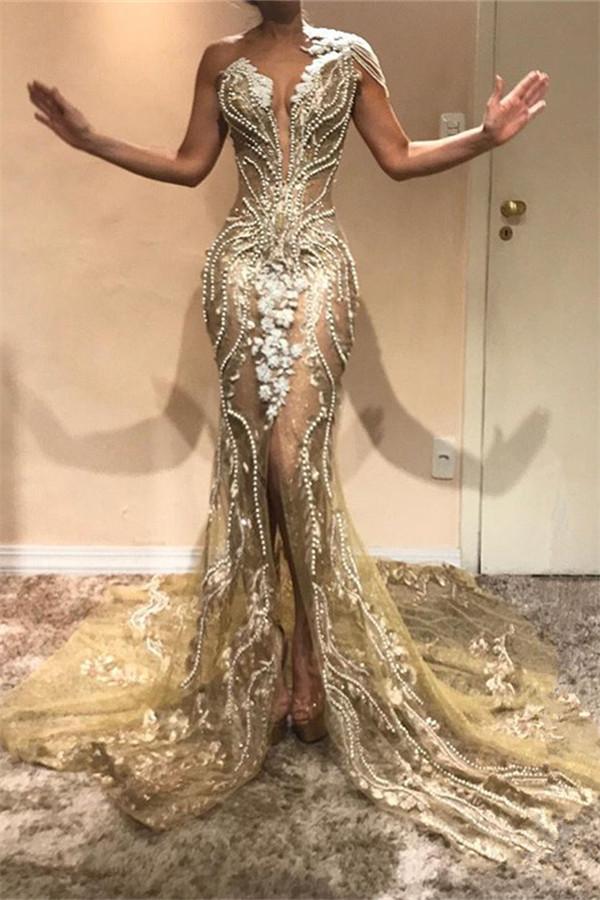 Glamorous A-Line One Shoulder Beading Appliques Front Split Prom Dresses