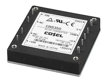 Cosel 348W Isolated DC-DC Converter Through Hole, Voltage in 18 → 36 V dc, Voltage out 24V dc
