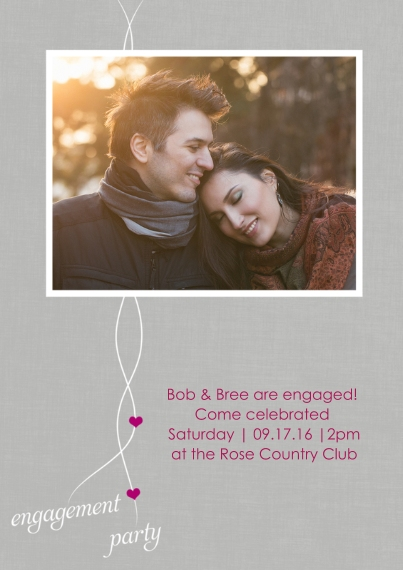 Engagement Party Invitations 5x7 Cards, Premium Cardstock 120lb with Elegant Corners, Card & Stationery -Heartfelt Engagement