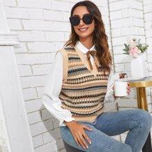 V-neck Geo Print Sweater Vest & Tie Neck Blouse