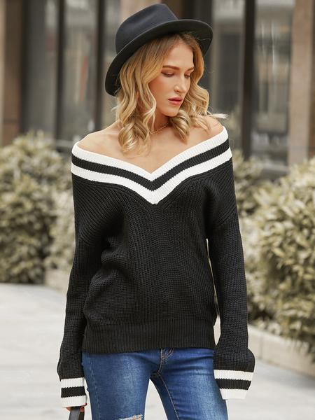 YOINS Striped V-neck Long Sleeves Sweater