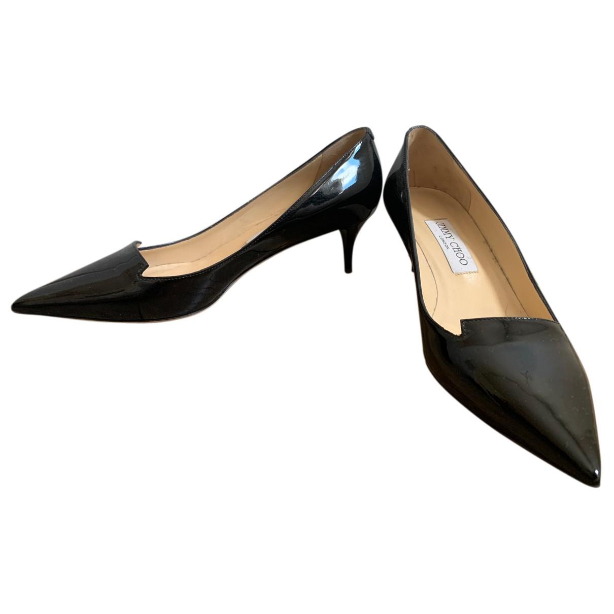 Jimmy Choo N Black Patent leather Heels for Women 38.5 EU