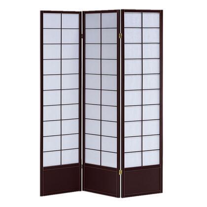 BM205809 3 Panel Wooden Room Divider with Shoji Paper Inserts  White and Dark
