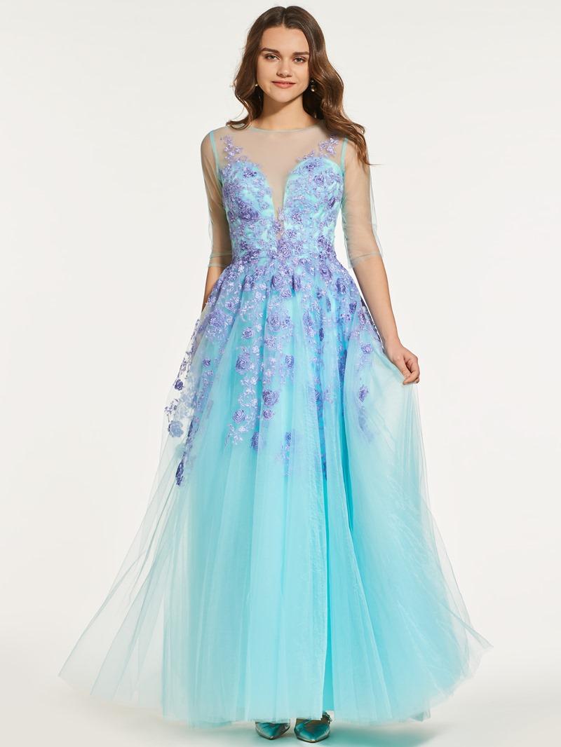 Ericdress Scoop Neck Half Sleeve Lace Applique Prom Dress