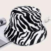Zebra Stripe Fluffy Bucket Hat