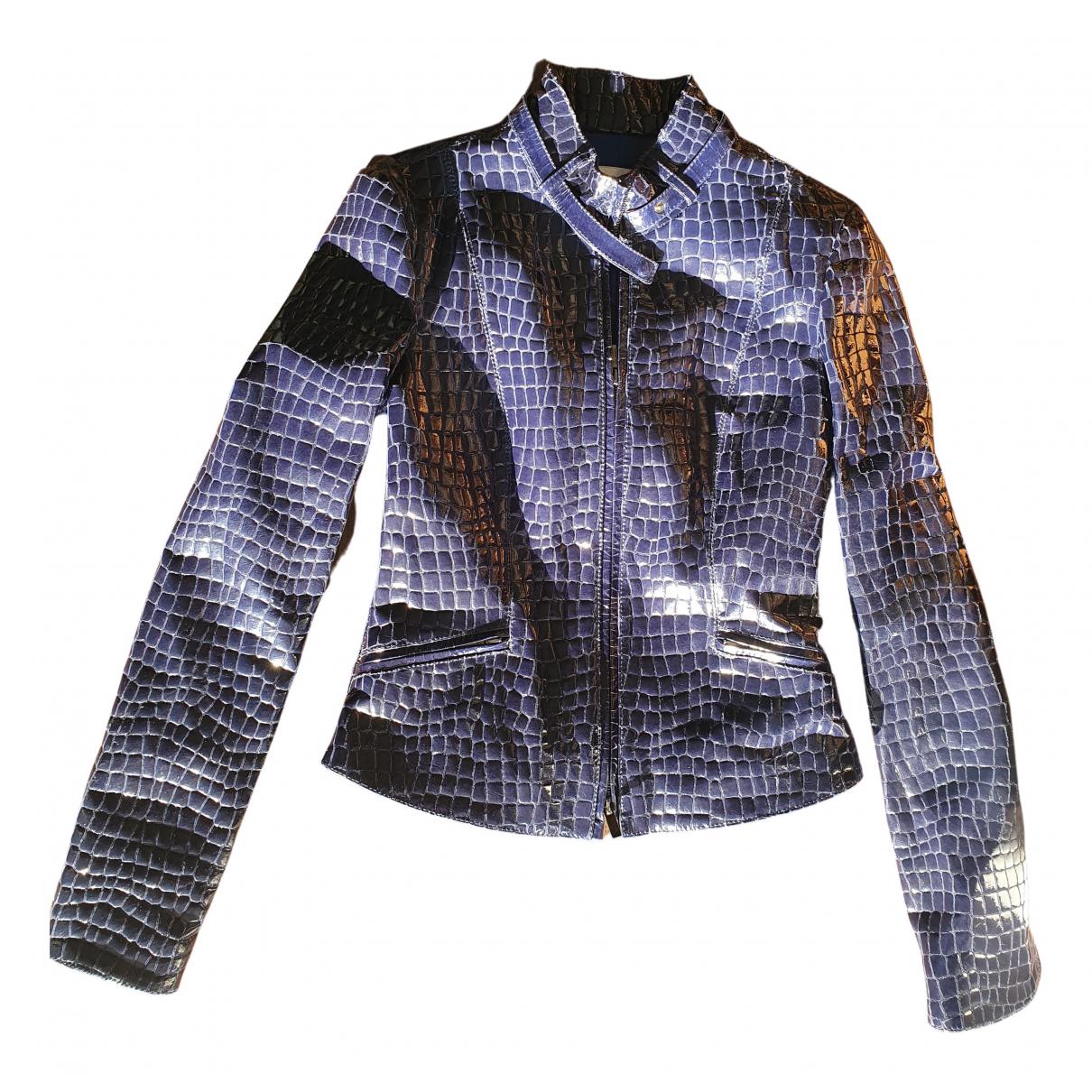 Armani Collezioni - Veste   pour femme en cuir - bleu