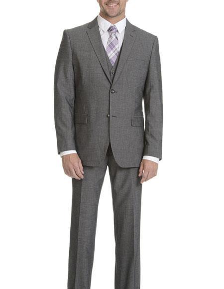 Caravelli Mens Grey 2 Button Vested Slim Fit Notch Lapel Suit