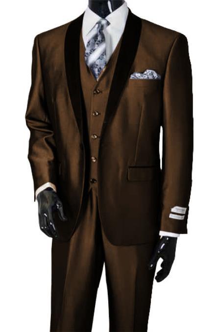 Men's Shawl Lapel Sharkskin Shiny Vested Suit Dark Brown