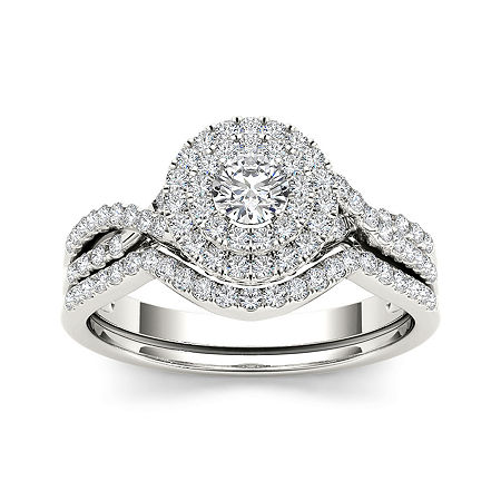 3/4 CT. T.W. Diamond Halo 14K White Gold Bridal Ring Set, 6 1/2 , No Color Family