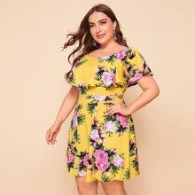 Kleid mit Schosschensaum und Blumen Muster